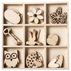 Kreatív Junior fa dekorációs elemek, tavaszi, vegyes, 36 db/csomag