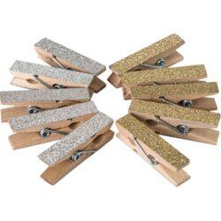 Kreatív Junior fa csipesz, glitteres, vegyes, 10 db/csomag