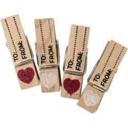 Kreatív Junior fa csipesz, glitteres szívvel, 4 db/csomag