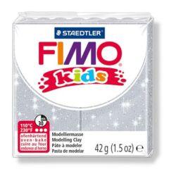 """Gyurma, 42 g, égethető, FIMO """"Kids"""", glitteres ezüst"""