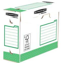 """Archiválódoboz, extra erős,  A4+, 100 mm, FELLOWES """"Bankers Box Basic"""", zöld- fehér"""