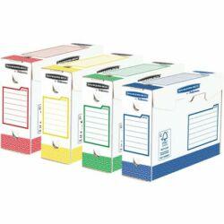 """Archiválódoboz, extra erős, A4+, 100 mm, FELLOWES """"Bankers Box Basic"""", vegyes színek"""