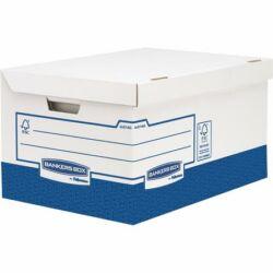 """Archiválókonténer, karton, ultra erős, nagy, FELLOWES """"Bankers Box Basic"""", kék-fehér"""