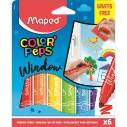"""Ablakfilc készlet, MAPED """"Color`Peps"""", 6 különböző szín"""