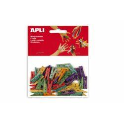 """Csipesz, fa, 25x3 mm, APLI """"Creative"""", színes"""