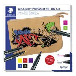 """Kreatív alkoholos marker készlet, STAEDTLER """"Lumocolor Permanent ART"""", vászontáska"""